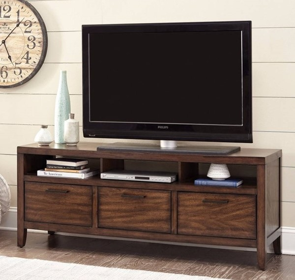 Homeroots Brown Wood Lustrous TV Console OCN-309133