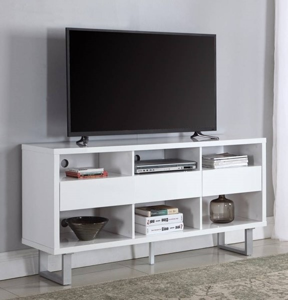 Homeroots White Wood Chrome Legs Convenient TV Console OCN-309135