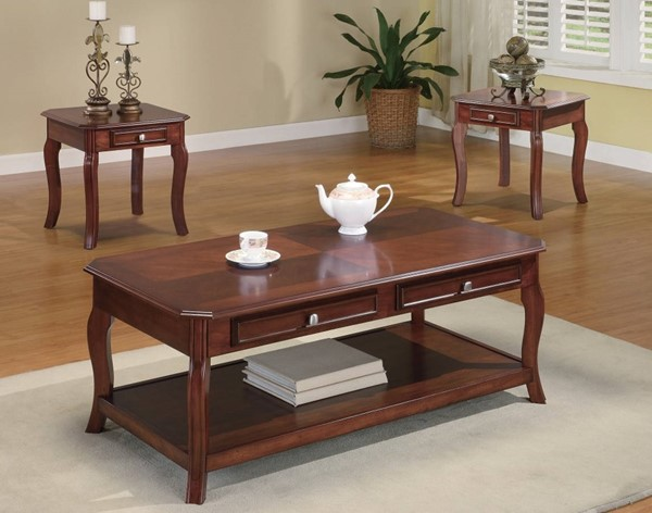 Homeroots Brown Wood Parquet Top 3pc Occasional Table Set OCN-309140