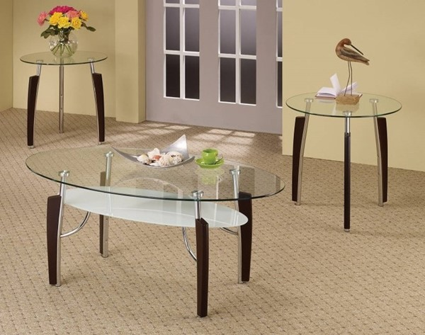 Homeroots Brown Wood Metal Legs Glass Top Sturdy 3pc Occasional Table Set OCN-309145
