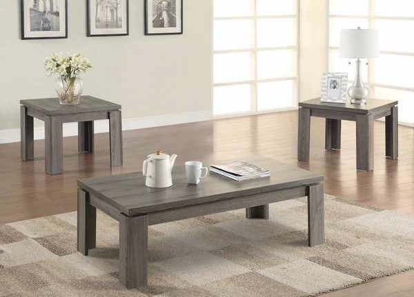 Homeroots Weathered Gray Wood Enormous 3pc Occasional Table Set OCN-309147