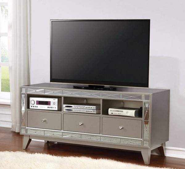Homeroots Gray Wood Accent Mirrored Metallic TV Console OCN-309148
