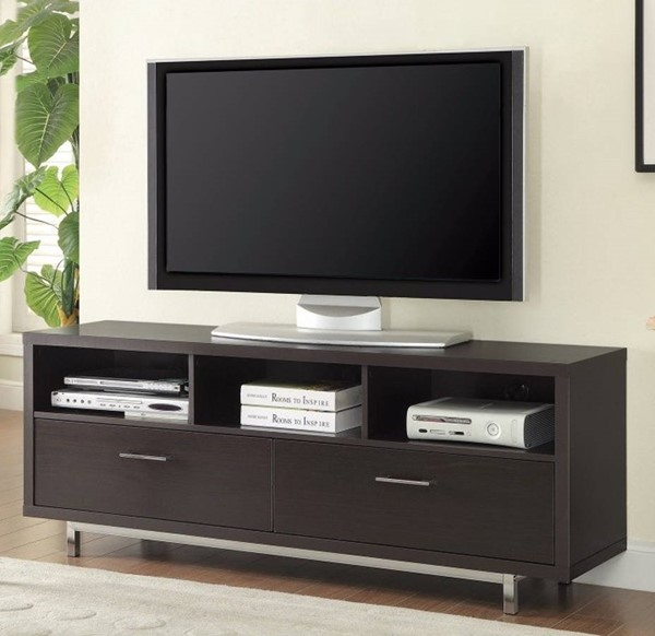 Homeroots Brown Wood Chrome Metal Legs TV Console OCN-309153