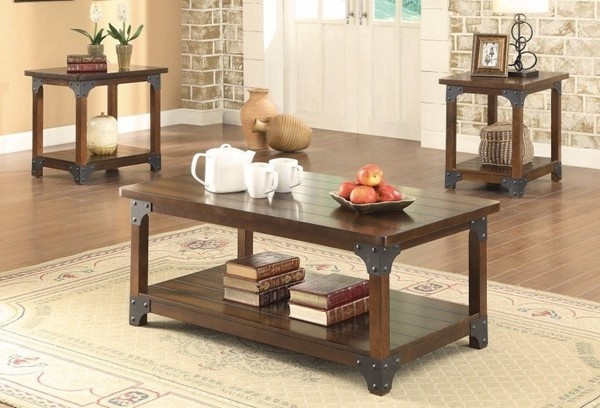 Homeroots Brown Wood Craftsman 3pc Occasional Table Set OCN-309156
