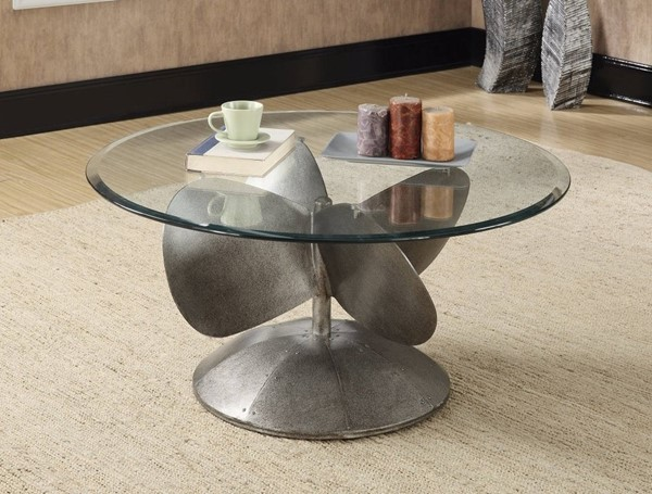 Homeroots Gray Metal Glass Top Coffee Table with Propeller Base OCN-309157