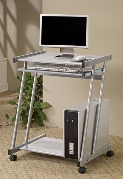 Homeroots Silver Metal Computer Desk with Keyboard Tray and Casters OCN-309160