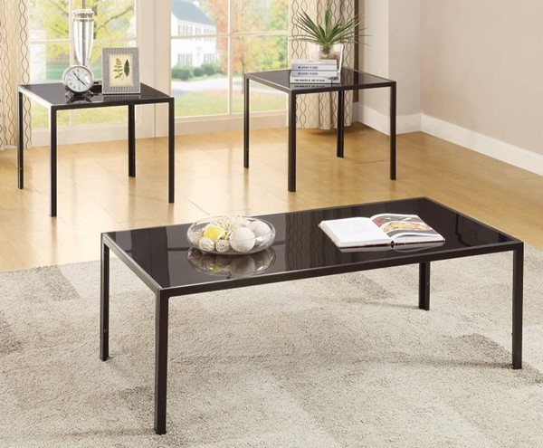 Homeroots Black Metal Glass Top Charismatic Sleek 3pc Occasional Table Set OCN-309162
