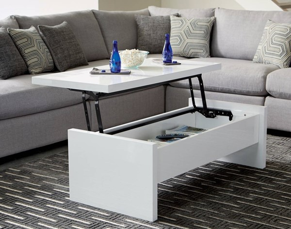Homeroots White Wood Glossy Lift Top Coffee Table OCN-309167
