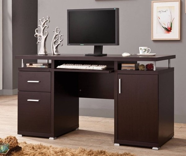 Homeroots Brown Wood Computer Desk with 2 Drawers and Cabinet OCN-309174