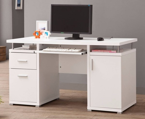 Homeroots White Wood Computer Desk with 2 Drawers and Cabinet OCN-309175