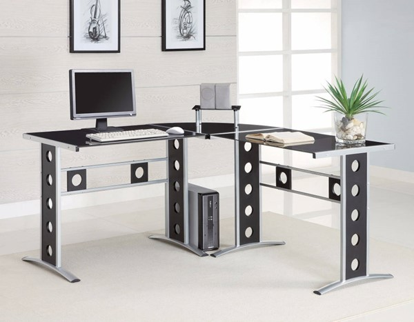 Homeroots Black Glass Top Silver Metal L Shape Computer Desk OCN-309184