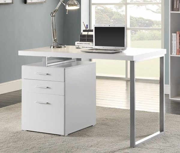 Homeroots White Wood Office Desk With File Drawer OCN-309204
