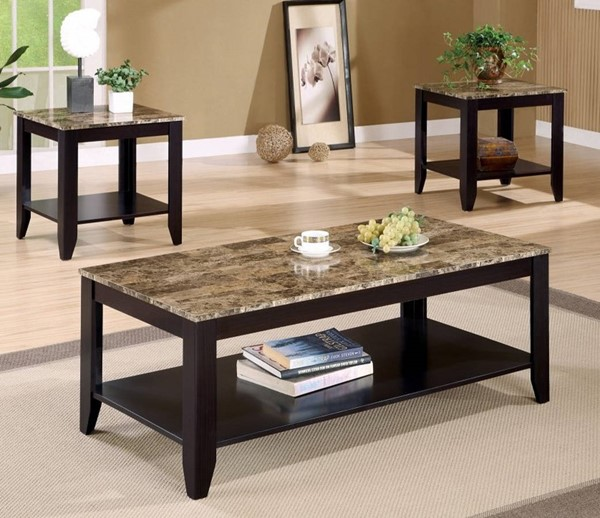 Homeroots Brown Marble Top 3pc Occasional Table Set OCN-309205
