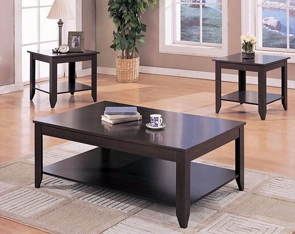Homeroots Brown Wood Open Storage 3pc Occasional Table Set OCN-309206