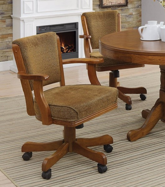 Homeroots Brown Wood Fabric Upholstered Arm Game Chair with Casters OCN-309219