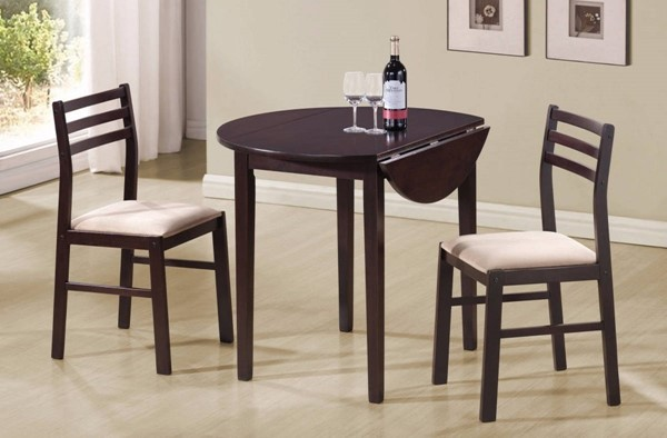 Homeroots Brown Wood 3pc Table and Chair Set OCN-309237