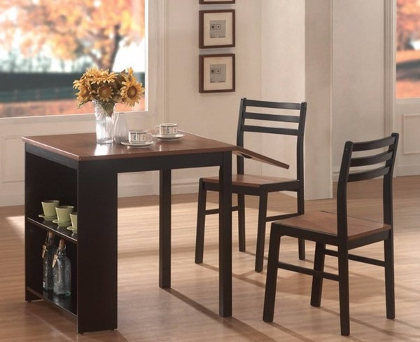 Homeroots Brown Black Wood 3pc Table with 2 Side Chairs OCN-309238