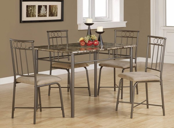 Homeroots Brown Faux Marble Top 5pc Dining Set OCN-309242