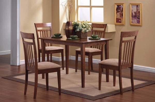 Homeroots Brown Wood 5pc Dining Table Set OCN-309247