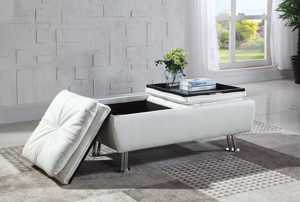 HomeRoots White Faux Leather Storage Ottoman with Reversible Tray Tops OCN-309264