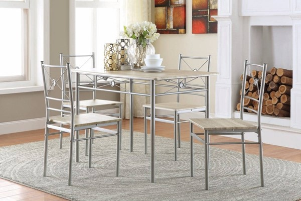 Homeroots Silver Wood Metal 5pc Dining Room Set OCN-309267