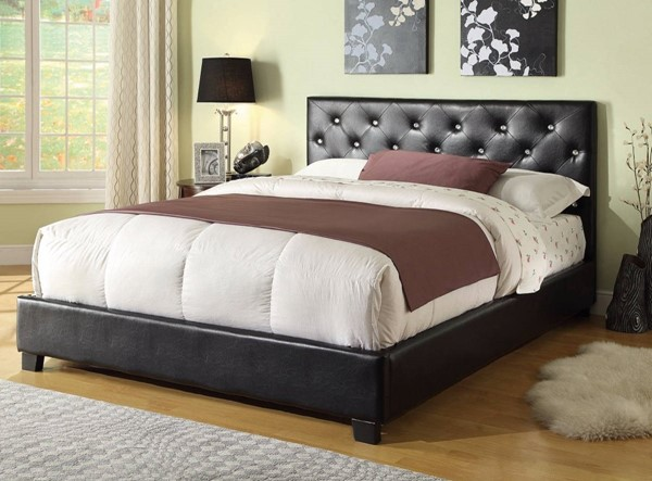 HomeRoots Black Leather Upholstered Button Tufting Queen Bed OCN-309288