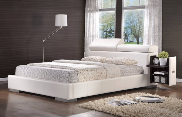 HomeRoots White Leatherette Comfy Upholstered Queen Bed OCN-309370