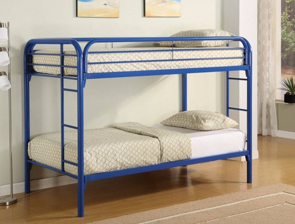 HomeRoots Blue Metal Twin over Twin Bunk Bed with Ladders OCN-309377