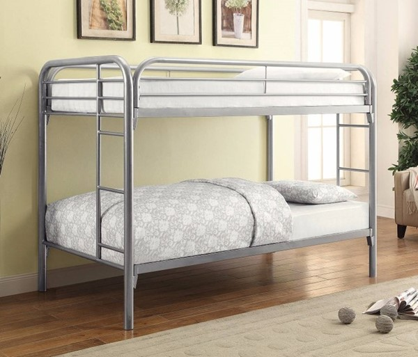 HomeRoots Silver Metal Twin over Twin Bunk Bed with Ladders OCN-309379