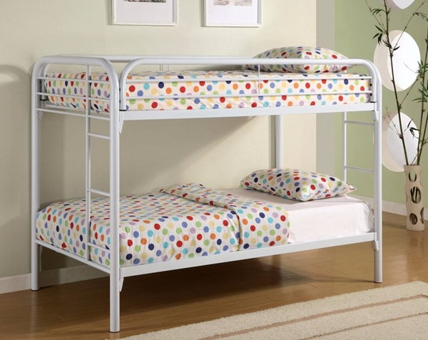 HomeRoots White Metal Twin over Twin Bunk Bed with Ladders OCN-309380
