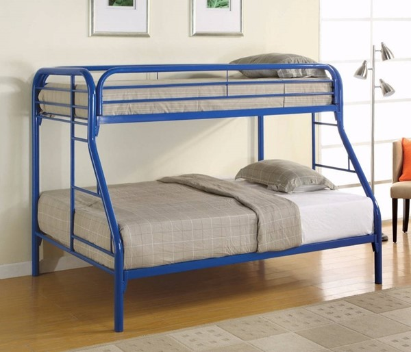 HomeRoots Blue Metal Full over Full Bunk Bed with Ladders OCN-309381