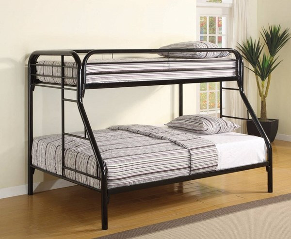 HomeRoots Black Metal Full over Full Bunk Bed with Ladders OCN-309382