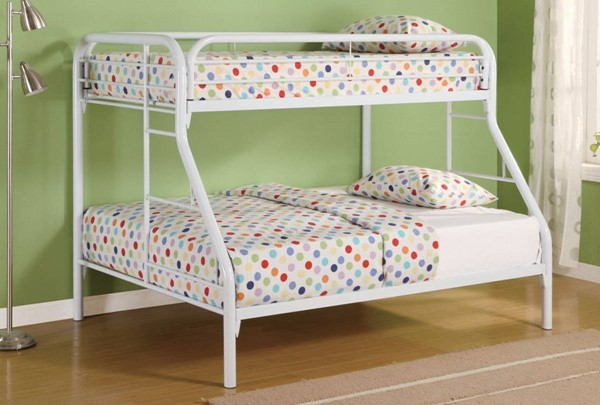 HomeRoots White Metal Full over Full Bunk Bed with Ladders OCN-309384