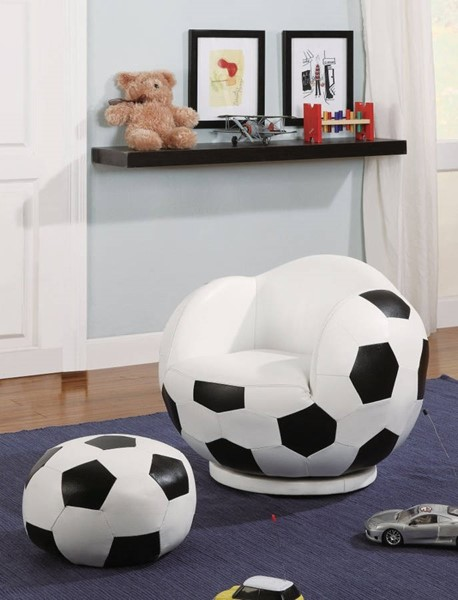 HomeRoots White Black Gamer Soccer Ball Chair and Ottoman OCN-309414