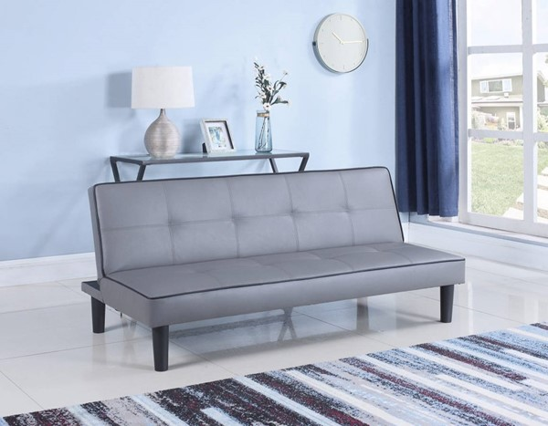 HomeRoots Contemporary Gray Leatherette Sofa Bed OCN-309479