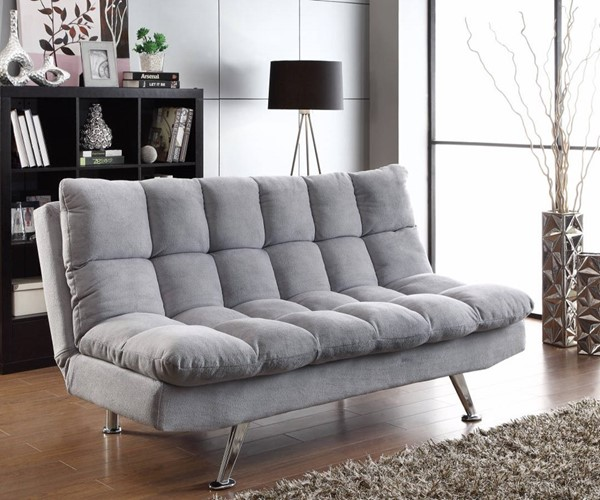 HomeRoots Gray Fabric Fine Furniture Tufted Sofa Bed OCN-309484
