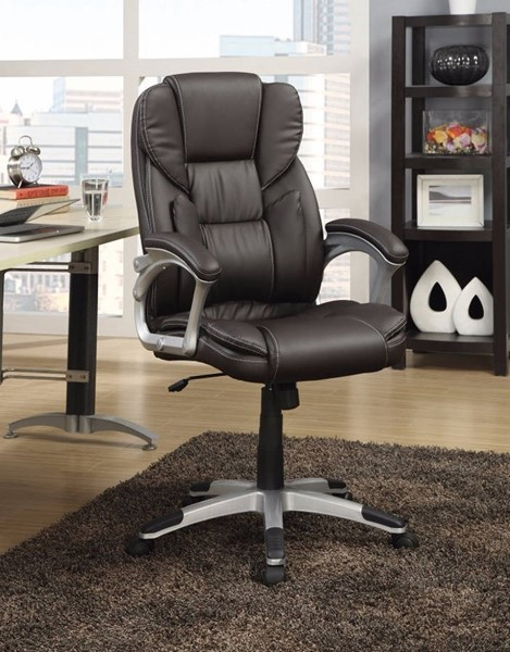 Homeroots Dark Brown Leather Executive High Back Chair OCN-309516