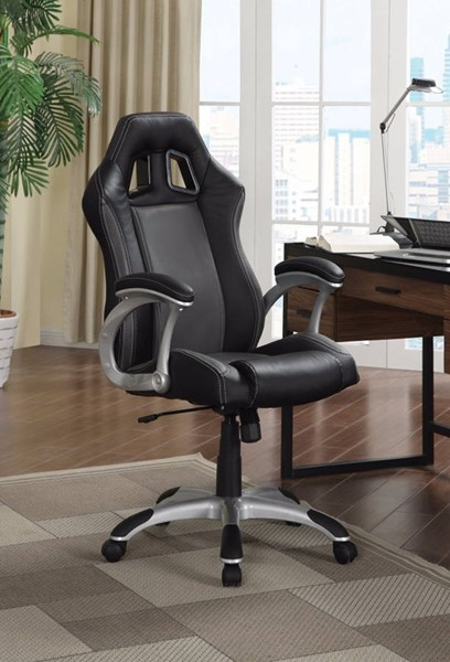 Homeroots Black Leather Sporty Executive High Back Chair OCN-309517