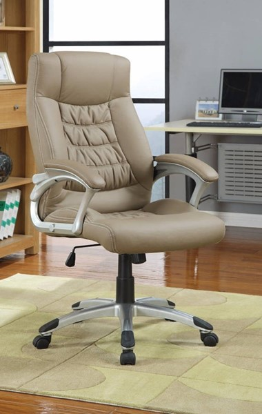 Homeroots Beige Leather Executive High Back Chair OCN-309527