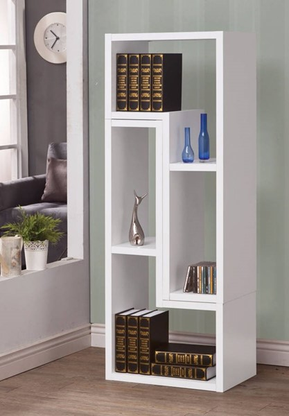 Homeroots White Wood Convertible TV Console and Bookcase OCN-309532