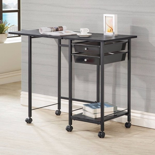 Homeroots Black Metal Folding Desk with Casters OCN-309538