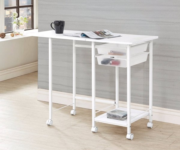 Homeroots White Metal Folding Desk with Casters OCN-309539