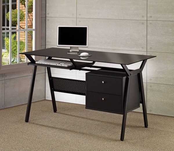 Homeroots Modish Black Metal Computer Desk with 2 Storage Drawers OCN-309541