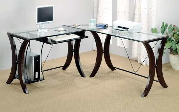 Homeroots Brown Wood Clear Glass Top 3pc L Shape Desk Set OCN-309543