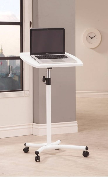 Homeroots White Metal Laptop Stand with Casters OCN-309545