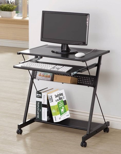 Homeroots Black Metal Computer Desk with Keyboard Drawer and Casters OCN-309546