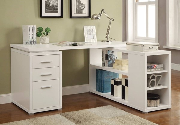 Homeroots White Wood Exquisite Office L Desk OCN-309548