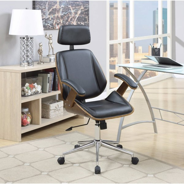 Homeroots Black Leatherette Executive High Back Office Chair OCN-309563