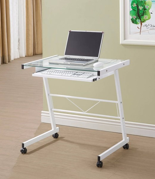 Homeroots Modish White Metal Computer Desk with Keyboard Tray OCN-309570