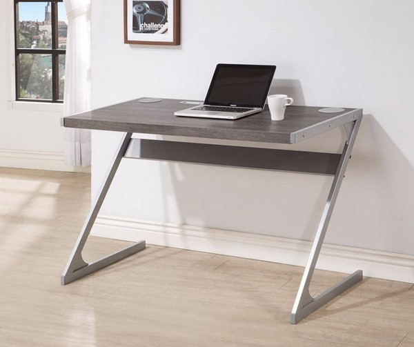 Homeroots Gray Metal Base Bluetooth Desk OCN-309574